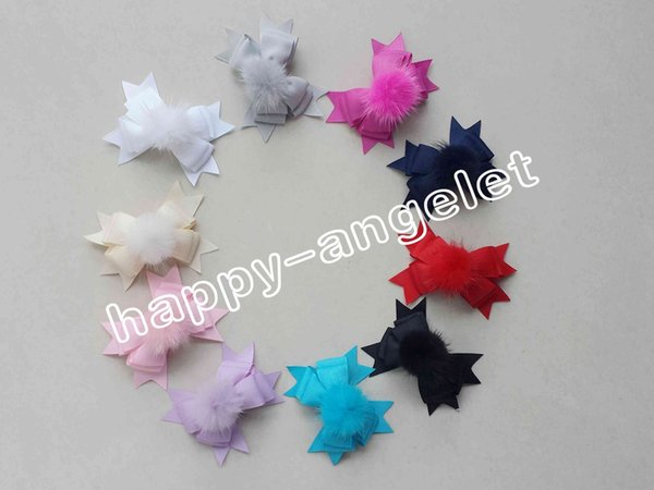 """100pcs lady girl 3.5 """" pom pom layer hair bows clips fur pompon headwear sweet pompoms hair elastic accessories Hairpins GR105"""