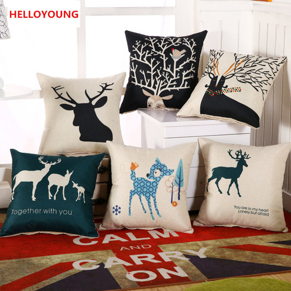 BZ059 Luxury Cushion Cover Pillow Case Home Textiles supplies Lumbar Pillow Deer head decorative throw pillows chair seat