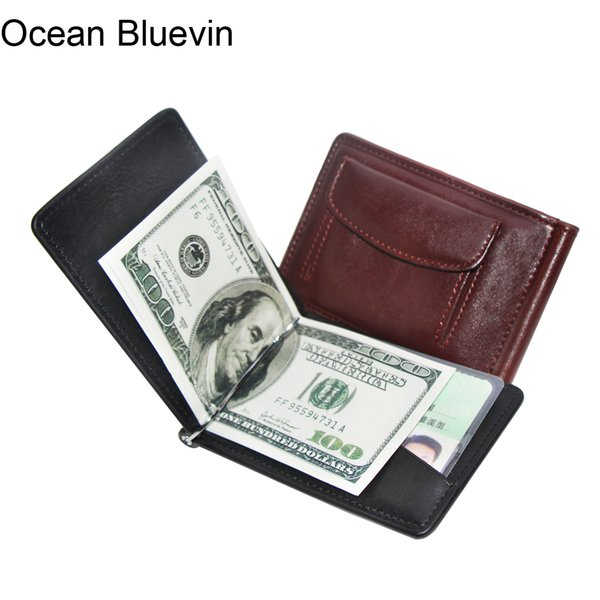 Ocean Bluevin Fashion Coin Pocket Design Men Money Clips Wallet Black Brown Quality Soft 2 Folds ID Credit Card Bit Clip Cateira Wallets