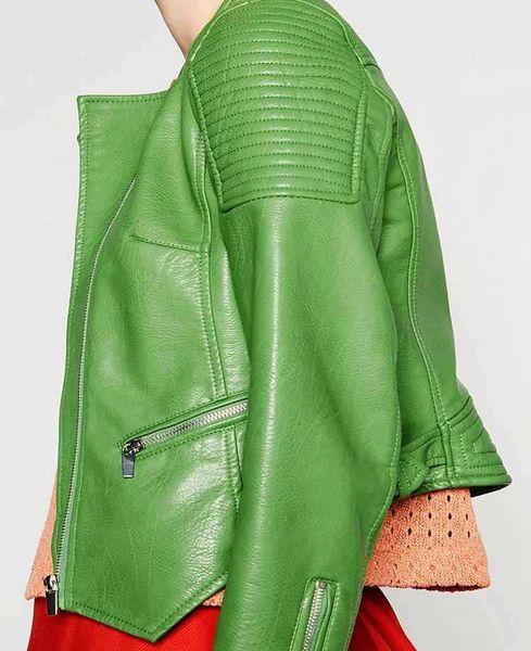2016 Nuevo Otoño Invierno de Las Mujeres Chaquetas de Cuero de Imitación Abrigo de Las Señoras de La Motocicleta Verde Claro Streetwear Cremallera de manga Larga prendas de Vestir Exteriores