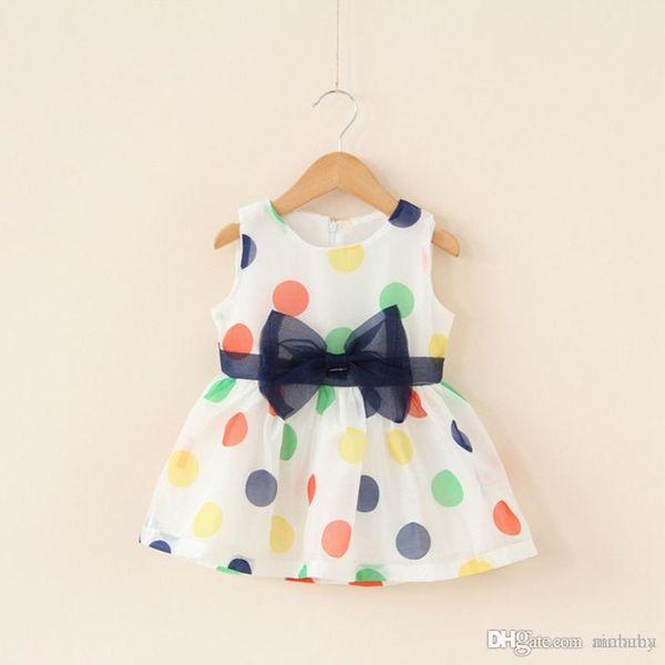 INS White Dot Sleeveless Dress Baby Girls Bow Tie Clothing European Root Yarn Dresses Childrens Dresses For Kids Free Shippping