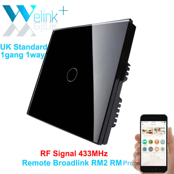 Al por mayor-1 pandilla, teléfono inteligente interruptor de pared remoto, estándar del Reino Unido, RF 433MHz, luces de control de luz por broadlink, cristal negro de lujo