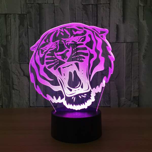 3D Tiger Head Illusion Lamp Night Light DC 5V USB Charging 5th Battery Wholesale Dropshipping Free Shipping Retail Box