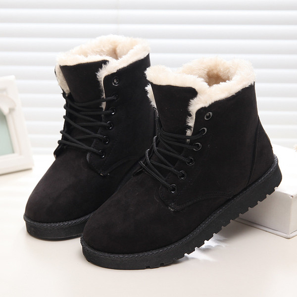 Women Winter Boots Suede Snow Ankle Boots Female Warm Short Fur Boots Shoes Woman Round Toe Botas Mujer