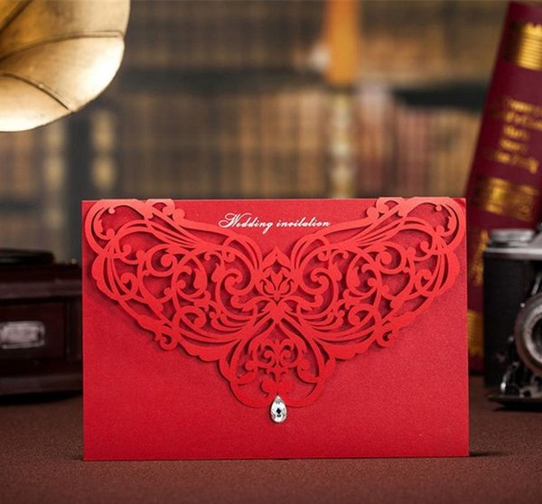 Hot Wholesale Personalized Wedding Invitation Cards Red white wed cards modern designs card DHL free shipping in good price