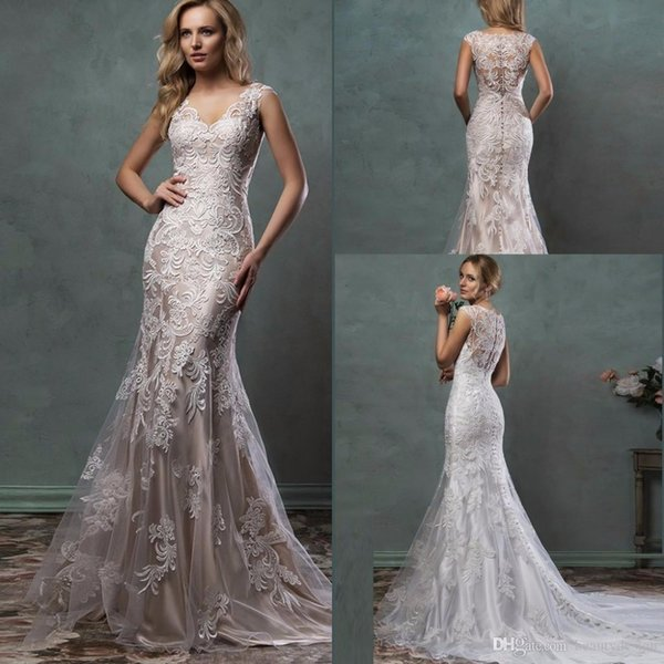 2017 Lace Wedding Dresses Mermaid Trumpet Amelia Sposa Bridal Gowns With Scoop Sheer Tulle Back Covered Button Court Train