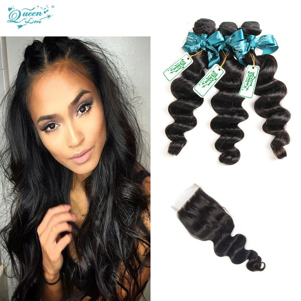 Cheap Brazilian Loose Wave 4 bundles With Lace Closure Buy Queen 8A Brazilian human hair extension unprocessed virgin hair weave