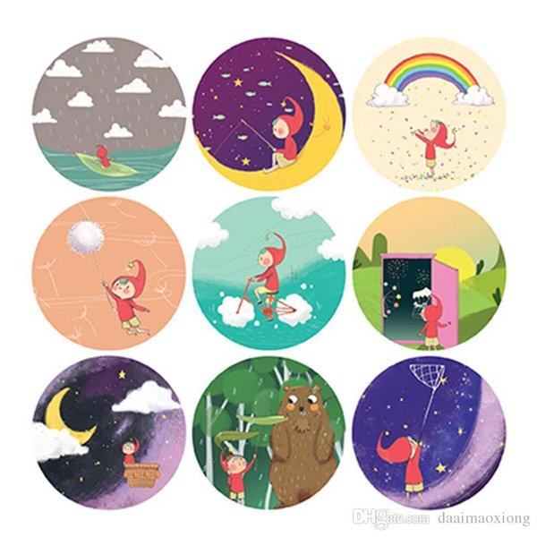 Cute Day Dream Girl Circular Stickers Scrapbook Notebook Decoration Diy Handmade Sticker Gift Card Childrens Gift Rear Window Decal Rear Window