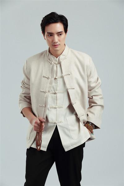 Herren Retro Chinesische Uniform Tunika Stehkragen Anzug