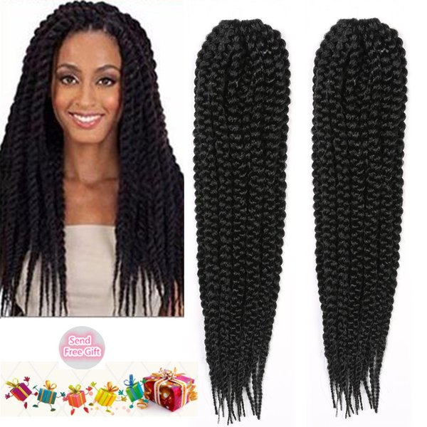 Synthetic Braiding Hair Extensions Senegalese Twist Hair For Braiding Bulks Afro Havana Mambo Crochet Braids Hairstyles Black Color 14 Hair