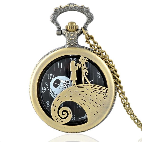 Nightmare Before Christmas Theme Pendant Pocket Watch Mens Women Quartz Watches Vintage Steampunk Necklace Chain Unique Gifts