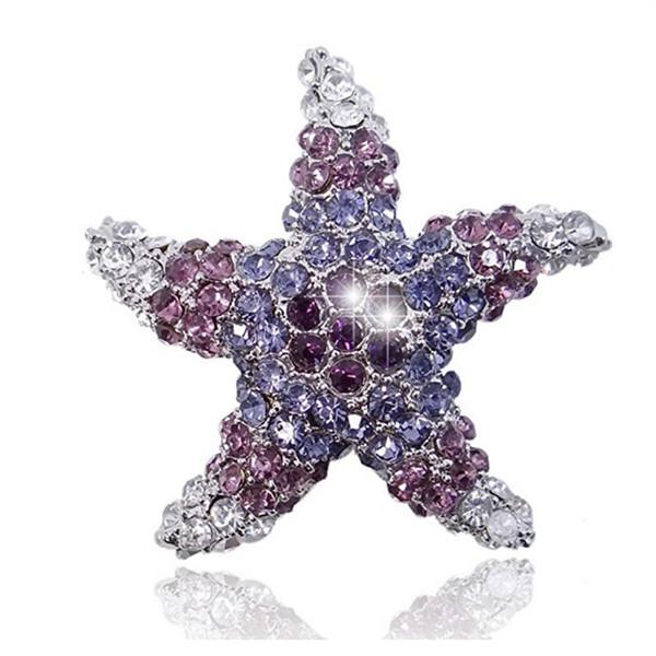 Purple Color Rhinestone Cute Crystal Starfish Brooch Silver-Tone Brooch Pin Jewelry
