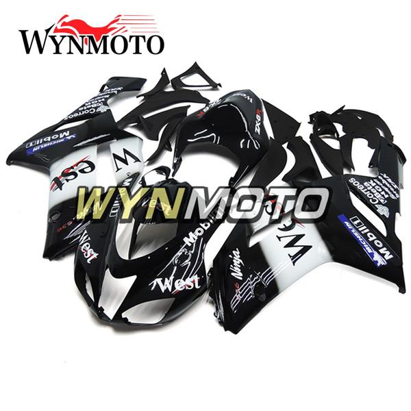 Carénages Pour Kawasaki ZX-6R 636 2007 2008 Injection ABS En Plastique Couvertures De Couvre Moto ZX6R Couverture Nouveau Corps Kits West White Noir Cowlings