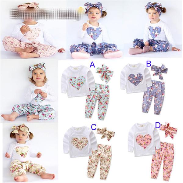 Baby girl INS em forma de coração flor Ternos Crianças Criança Infantil Casual Curto de manga comprida T-shirt + calças + faixa de Cabelo 3 pcs conjuntos pijama roupas B
