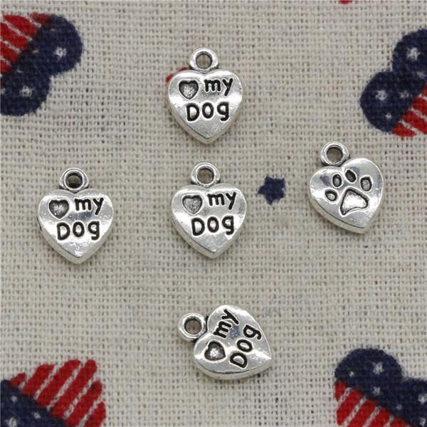 Wholesalecs- 221pcs Charms heart love my dog 13*10mm Pendant,Vintage Tibetan Silver,For DIY Necklace&Bracelets Jewelry Accessories