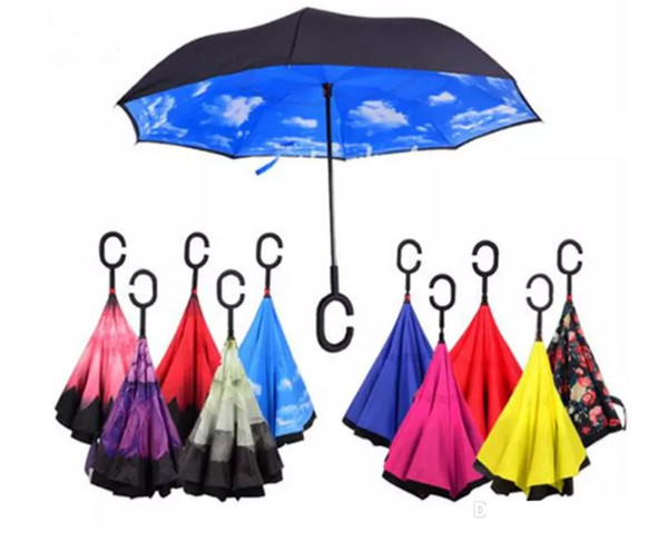 top popular Inverted Umbrella Windproof Reverse Folding Double Layer Self Stand Inside Out Rain Protection C Hook Hands For Car 2019