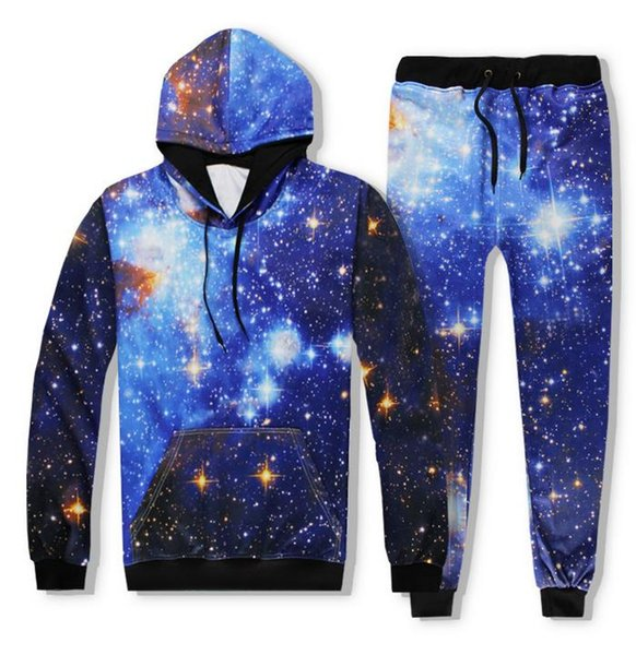 Men Women Joggers Pants + Hoodie Galaxy 3D Hoodies Starry Sky Print Hooded Sweatshirts Unisex Tracksuits Outfit Sweatpants Set