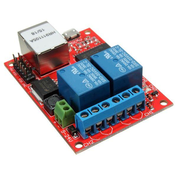 LAN Ethernet 2-way Relay Board Delay Switch TCP//UDP Controller Module WEB server