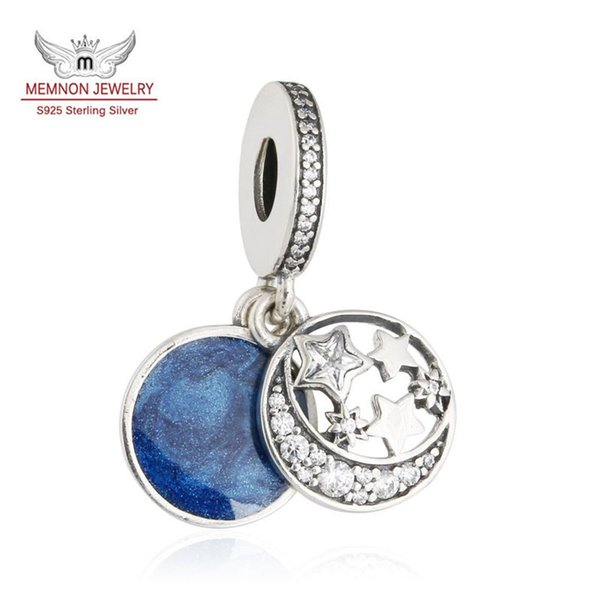Memnon Jewelry 925 Sterling Silver Christmas Night Sky Charm CZ Pave Moon and Star Midnight Blue Enamel Pendant Beads For Jewelry Make DA190
