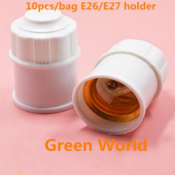 10pcs / sac blanc support de lampe en bakélite E27 Edison support de lampe en plastique Shell base ronde E27 douille support de lampe ampoule