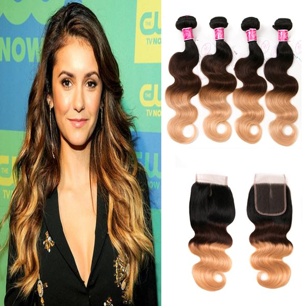 malaysian body wave 4 bundles with closure ombre 1b/4/27 3 tone blonde unprocessed virgin brazilian hair cheap best quality no shedding