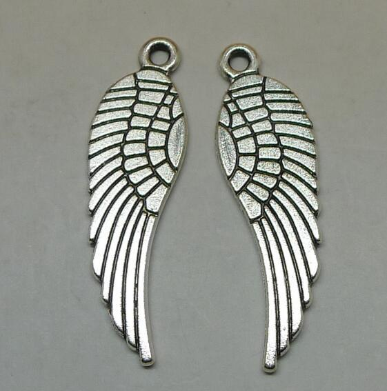 Silver Angel Wing for Jewelry Charms Pendants Wholesale 30x10mm Match Necklace Fashion Decoration for Men Tibetan Christmas Gift
