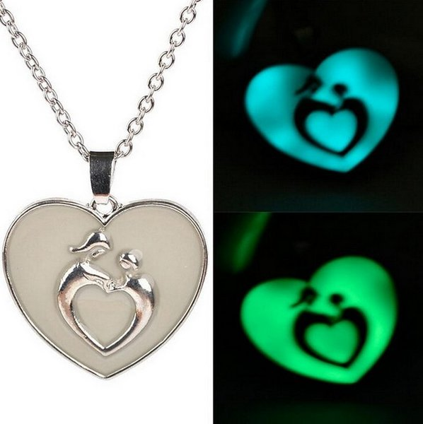 Anne Bebek Gece Lambası Kolye Mavi Yeşil Glow Koyu Gümüş Ton Mum Takı Kolye