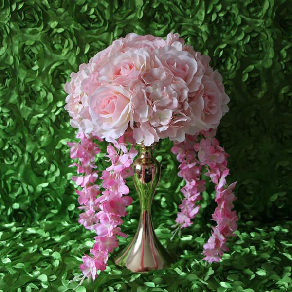 New product Wedding road lead artificial silk pink rose Wedding arch square pavilion corners decorative 10pcs / lot