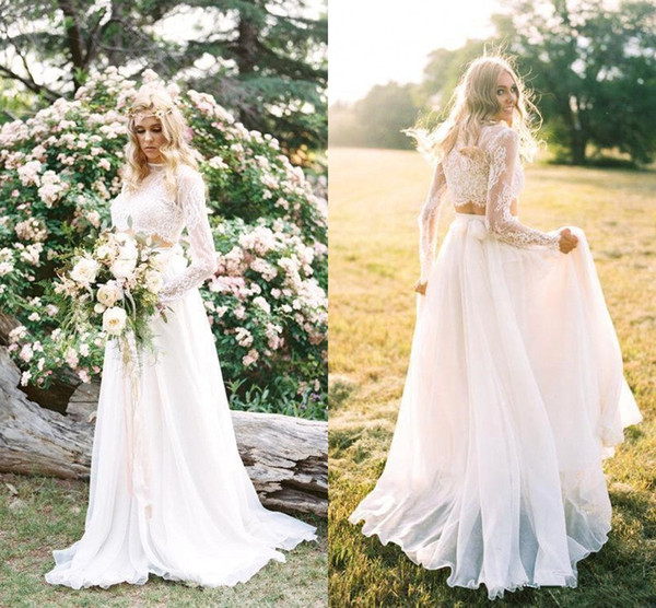 2018 Cheap Two Piece Bohemian Country Wedding Dresses Lace Long Sleeves Summer Beach Bridal Gowns Chiffon