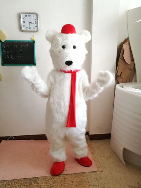 Costume de mascotte cola ours blanc fantaisie robe de fête d'anniversaire Costumes de carnaval d'Halloween avec haute qualité pour adulte