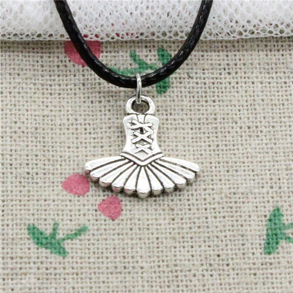 15pcs New Fashion Antique Silver Charms ballet dress tutu ballerina 17*17mm Pendant Necklace Black Leather Cord Hand made Jewlery Necklace