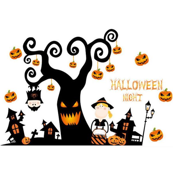 Halloweens Scary Tree House decalque adesivos de parede decalques de parede para decoração de casa ou fontes do partido do dia das bruxas tamanho sortido