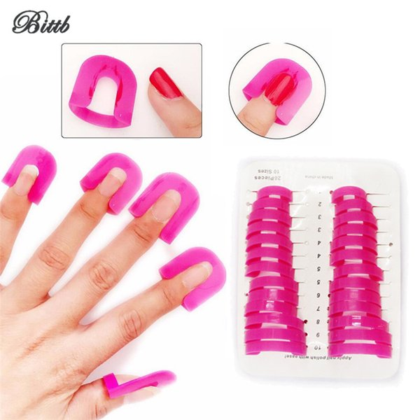 Bittb 26pcs Nail Gel Model Clip Nail Polish Anti-Overflow Case Cover,Nail Art Painting Fence Frame Nail Art Clamp Tray Tool