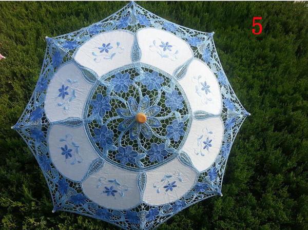 Moda 30 cm nupcial de encaje bordado sombrilla boda fiesta decoración paraguas 12 colores puede elegir niños paraguas juguetes
