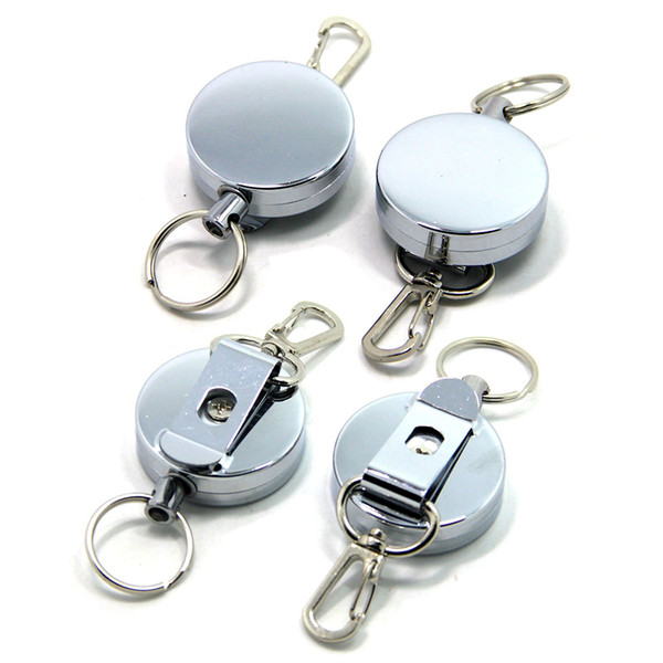 Retractable Key Chain Key Return Keyring Badge Holder W/ Belt Clip with Stainless Cable Burglar Portable Keychain B109Q