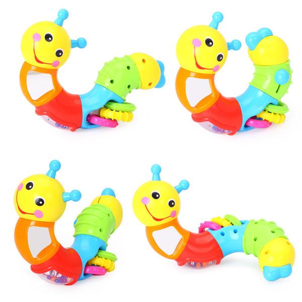 Çocuklar Eğitici Oyuncaklar Bebek Çıngırak Güzel Solucan Oyuncaklar Eklemek Bulmaca Bebek Çocuk Parmaklar için Dönüm Esnek E ...