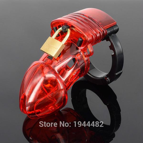 Dispositivo di castità maschio rosso di plastica CB con anello regolabile del pene Cintura di castità Gabbia del cazzo Bondage Giocattoli del sesso Serratura Dildo per gli uomini Prodotti del sesso