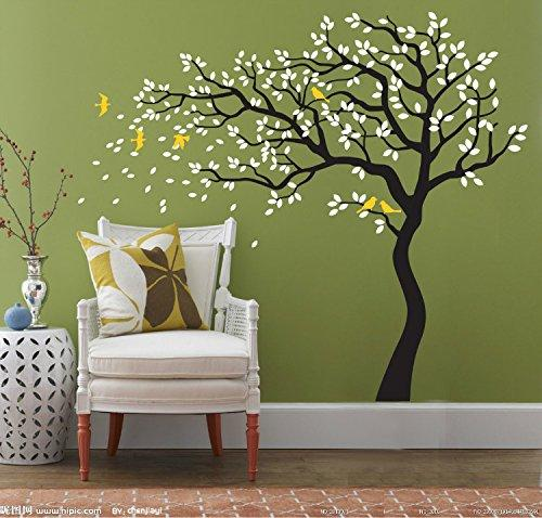 Wholesale DIY Waterproof Home Decor Baby Room Wall Decor Large Tree Leaves with Flying Birds Home Background PVC Removable Decal Stickers