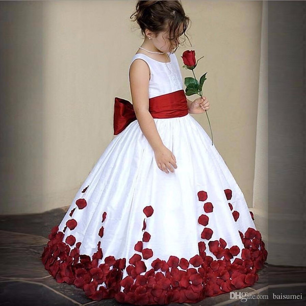2018 grace Red And White Jewel Bow Rose petal Satin Ball Gown Flower Girl Dresses Custom Size