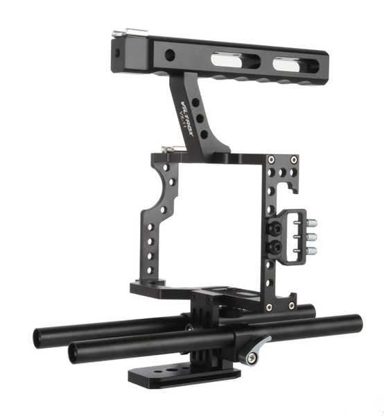 Freeshipping 15mm Rod Rig DSLR Camera Video Cage Kit Stabilizer + Top Handle Grip for Sony A7 II A7RII A7SII A6300 A6000/GH4/EOS M5