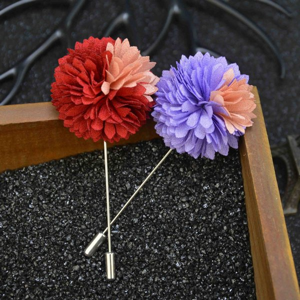 double-color flower brooch lapel pins Blooming Dahlia handmade boutonniere stick for men retro Court style brooches jewelry