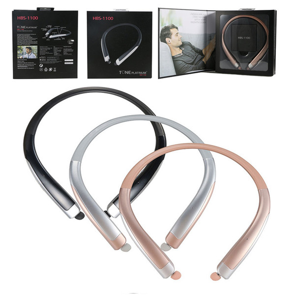 HBS 1100 CSR 4.1 Neckband Outdoor Bluetooth Noise reduction Universal Earphones Headsets with Mic High Quality With Hard Soft Retail Package