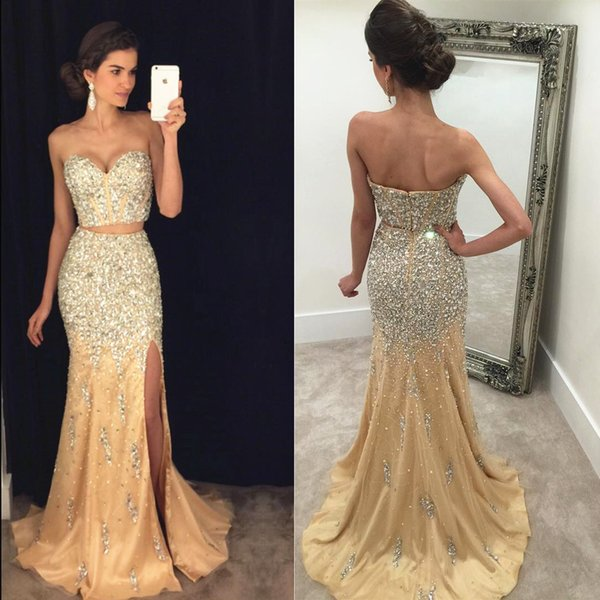 Two Piece Split Mermaid Prom Dresses Sweetheart Crystal Beaded Tulle Floor Length Champagne Backless Women Evening Dress Bling Pageant Dress