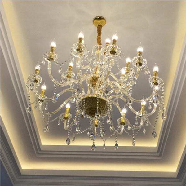 moderna doppia scala a chiocciola lampadario di cristallo doppio strato lampadario soggiorno lampadario luce hotel hall culb lampada a sospensione in cristallo