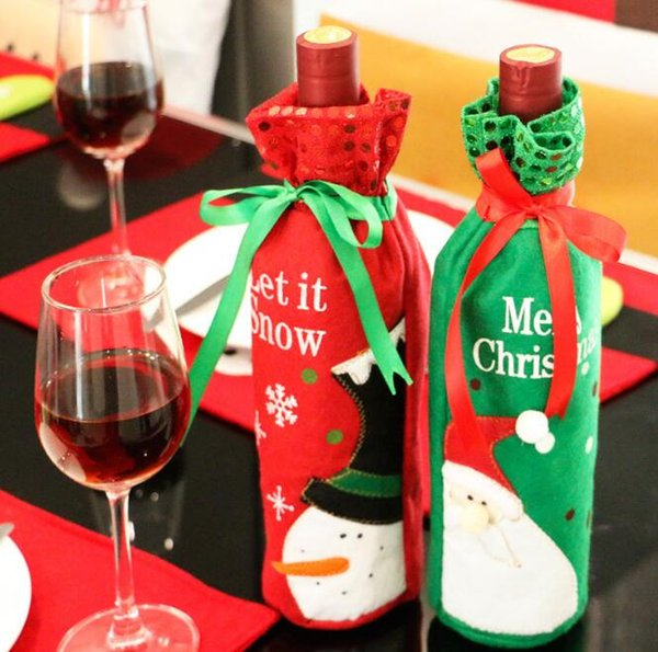Santa Claus Snowman Design Wine Bottle Cover Red Wine Gift Bags Pretty Christmas Decoration Supplies Xmas home ornaments G853