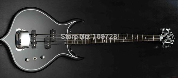 Guitarra Elétrica Gene Simmons raro Punisher 4 Cordas Preto Guitarra Baixo Elétrico Mahogany Corpo Maple Neck Rosewood Fingerboard