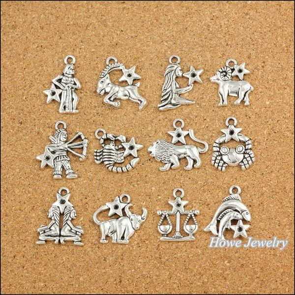 Wholesale- 120 pcs Vintage Charms Zodiac twelve constellations sign Pendant Antique silver Fit Bracelets Necklace DIY Metal Jewelry Making