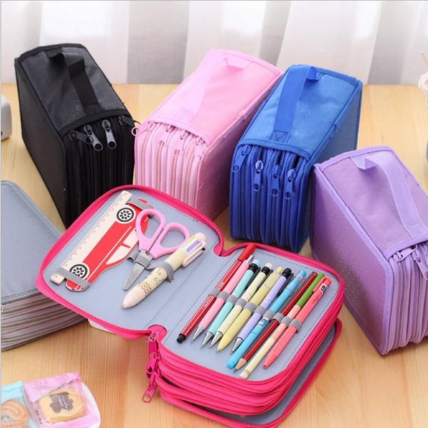 top popular Wholesale-72 Holders 4 Layers 52 Holders 3 Layers Portable Canvas School pens Pencil Cases High-capacity Pencil Bags School Supplies 0079 2021