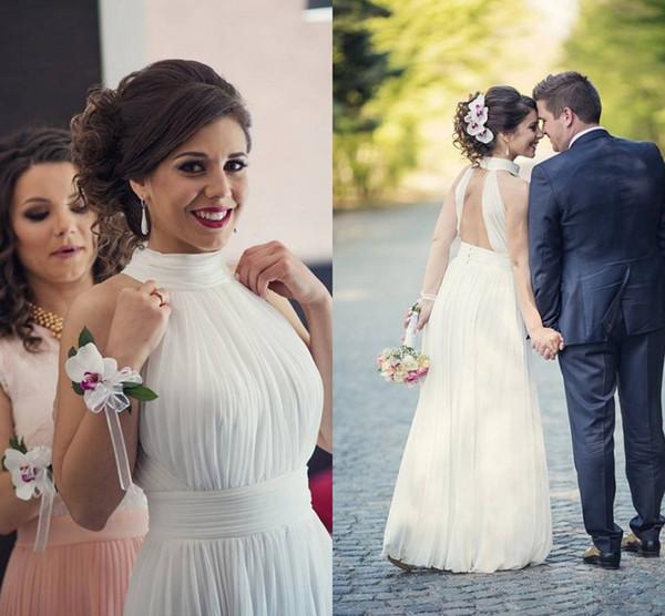 Branco Chiffon Keyhole Vestidos de Casamento de Volta Alto Pescoço Sem Mangas Plissado Até O Chão Sem Encosto Vestidos de Casamento Vestidos de Noiva Barato