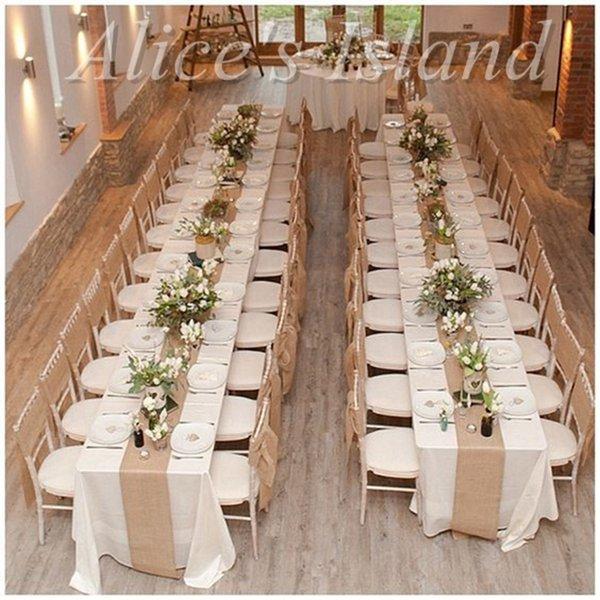 300 x 30cm natural burlap jute table runner for rustic classic 300 x 30cm 6pcslot natural burlap jute table runner for rustic classic vineyard wedding junglespirit Choice Image